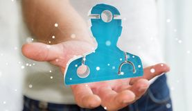 Zakenmanholding en wat betreft het medische pictogram 3D teruggeven Stock Foto's
