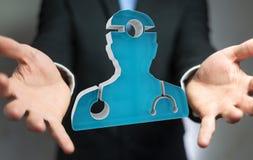 Zakenmanholding en wat betreft het medische pictogram 3D teruggeven Royalty-vrije Stock Afbeeldingen