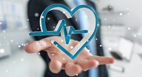 Zakenmanholding en wat betreft het medische pictogram 3D teruggeven Royalty-vrije Stock Foto's