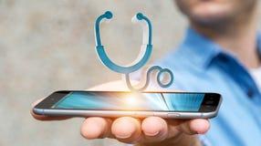 Zakenmanholding en wat betreft het medische pictogram 3D teruggeven Stock Afbeelding
