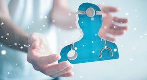 Zakenmanholding en wat betreft het medische pictogram 3D teruggeven Stock Foto