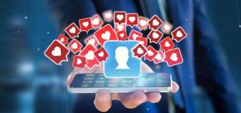 Zakenmanholding zoals bericht op een contact op het sociale media 3d teruggeven stock fotografie