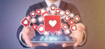 Zakenmanholding zoals bericht op een sociale media 3d rende Stock Afbeeldingen