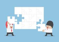 Zakenmanhulp elkaar om lege figuurzaag te assembleren stock illustratie