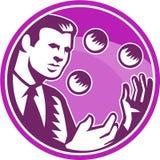 Zakenmanjuggler Juggling Balls Retro Royalty-vrije Stock Afbeelding