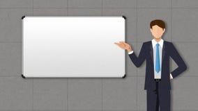 Zakenmankarakter die presentatie, gebaar het richten tonen voorwhiteboard in conferentieruimte Illustratie royalty-vrije illustratie