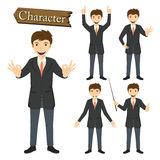Zakenmankarakter - vastgestelde vectorillustratie Royalty-vrije Stock Afbeelding