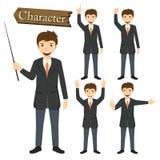 Zakenmankarakter - vastgestelde vectorillustratie Royalty-vrije Stock Afbeeldingen
