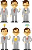 Zakenmankarakter - in verschillend wordt geplaatst die stelt stock illustratie