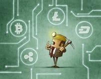 Zakenmanmijnbouw en cryptocurrency royalty-vrije illustratie