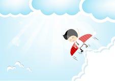 Zakenmanraket die de hemel vliegen Stock Foto