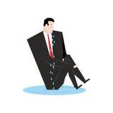 Zakenmanschreeuwen Werkgever in vulklei van scheuren Tosca en snikt manag stock illustratie
