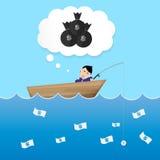 Zakenmanslaap en het dromen in de dollaraas van het bootgebruik aan vangst royalty-vrije illustratie