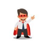 Zakenmansuperman Zakenman in een superherokostuum Royalty-vrije Stock Afbeelding