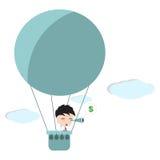 Zakenmantribune bij lucht ballon en het zoeken van het teken van de gelddollar met telescoop of verrekijkers in de hemel, op witt Royalty-vrije Stock Afbeelding