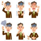 Zakenmanziekte op middelbare leeftijd en oudere 6 symptomen vector illustratie