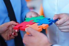 Zakenrelatie Collectief Team Jigsaw Puzzle Concept stock afbeelding
