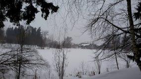 Zakharovo俄国村庄在冬天普希金前庄园  库存图片