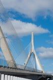 Zakim邦克山纪念桥梁在波士顿,美国 库存照片