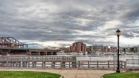 Zakim邦克山纪念桥梁在波士顿Ma 免版税库存图片