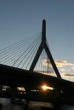 Zakim Brücke am Sonnenuntergang Lizenzfreies Stockbild