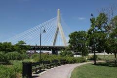 Zakim Bridge. The Zakim Bridge from a park Stock Photography