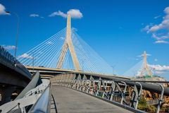 The Zakim Bridge  with blus sky in Boston Stock Photo