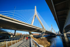 The Zakim Bridge in Boston, Massachusetts stock images