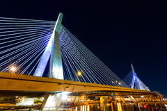 Zakim Bridge by night Stock Photo