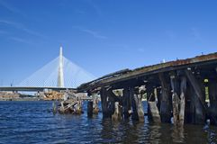 Zakim Bridge and old pier Stock Photography