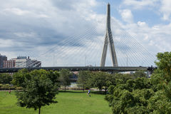 Zakim bridge from Paul Revere park in Boston Royalty Free Stock Photography