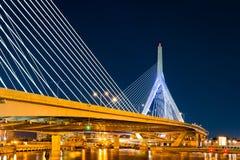 Zakim Bunker Hill bridge in Boston, MA. By night royalty free stock image