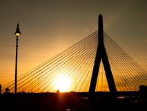 Zakim Bunker Hill Bridge Sunset Silhouette Stock Image