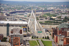 Zakim Bunker Hill Bridge and TD Banknorth Garden Royalty Free Stock Photography
