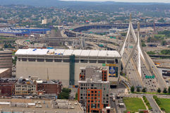 Zakim Bunker Hill Bridge and TD Banknorth Garden Royalty Free Stock Photos