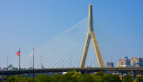 Zakim Bunker Hill Memorial Bridge. In Boston stock photo