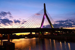 Zakim Bunker Hill Memorial Bridge at sunset Royalty Free Stock Photos
