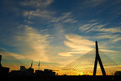 Zakim Bunker Hill Memorial Bridge at sunset Royalty Free Stock Image