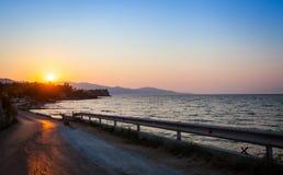 Zakinthos, пляж Греция, заход солнца Стоковая Фотография