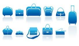 Zakken en geplaatste kofferspictogrammen Stock Foto's