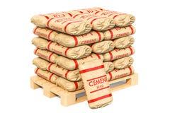 Zakken met cement op pallet, het 3D teruggeven Stock Illustratie