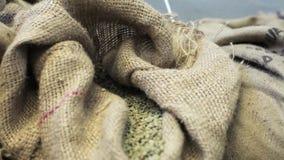 Zakken met gebraden niet koffiebonen in koffiefabriek Gezoem uit stock video