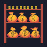 Zakken met geld Royalty-vrije Stock Afbeeldingen
