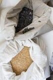 Zakkenhoogtepunt met zonnebloemzaden en Einkorn-tarwekorrels Verscheidenheid van bonen, korrels en zaden op een landbouwersmarkt stock afbeelding