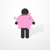 Simple black silhouette of a man with pink piggy Royalty Free Stock Photos