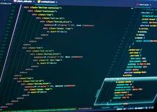 Zakończenie w górę HTML i CSS kodu rozwijać Strony internetowej cyfrowanie zdjęcia stock