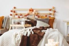 Zakończenie łóżko fotografia royalty free