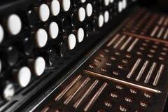 Zakończenie akordeon przeciw czarnemu tłu Zdjęcie Stock