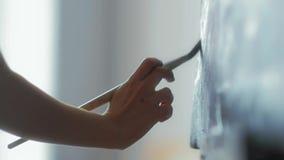 Zakończenie artysty ` s ręki trzyma farbę na kanwa oleju i muśnięcie zbiory