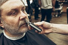 Zakończenie bocznego widoku portret przystojny starszy brodaty caucasian mężczyzna dostaje brodę przygotowywa w nowożytnym zakład Obraz Stock